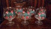 6 bicchieri dipinti vetro di Bohemia