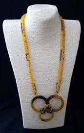 Collana 2 fili agata gialla con 3 cerchi in agata tinta