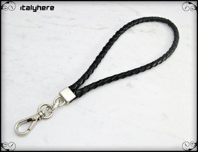 cinturino staccabile da polso in vero cuoio intrecciato,  lunga 21 Cm.  colore nero con rifiniture colore argento