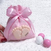 Bomboniera piedini calamita per nascita o battesimo