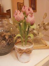 VASO  SHABBY TULIPANI in stoffa color rosa a pois bianchi