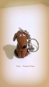 Portachiavi in fimo, argilla polimerica, handmade, Cane Bassotto, kawaii, miniature, idee regalo compleanno, animali personalizzabile