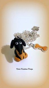 Collana in fimo bassotto, argilla polimerica, handmade, cane,kawaii, miniature, idee regalo compleanno, animali personalizzabile