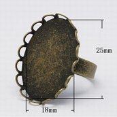 6 basi per anello 18x25mm bronzo