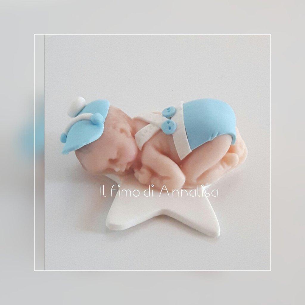 Bebè in fimo bomboniere nascita o battesimo