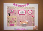 Quadretto nascita bimba realizzato a mano con elementi in fimo, balsa e cartoncino.  Idea regalo personalizzabile.