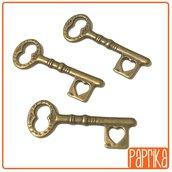 3 Chiavi bronzo charms 10x32mm