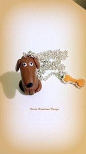 Collana in fimo, argilla polimerica, handmade Cane Bassotto kawaii miniature idee regalo compleanno natale animali personalizzabile