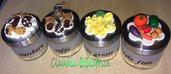 Set di barattoli sale , zucchero e caffè decorati con elementi fatti a mano in fimo.
