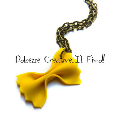 Collana Pasta - farfalle - idea regalo in fimo e cernit - miniature kawaii - cute -