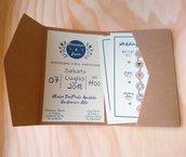 partecipazione pocketfold carta riciclata nastro raso blu