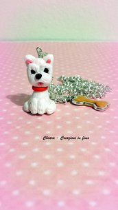 Collana west highland terrier in fimo, argilla polimerica, westie kawaii miniature idee regalo compleanno, animali personalizzabile