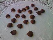 5 ciondoli in fimo castagne per bijoux o bomboniere
