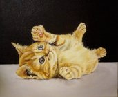 Dipinto ad olio - Gatto che gioca