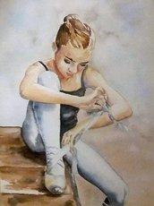 Acquerello su carta - Ballerina