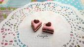 Fetta di torta cuore  ciondolo 15 mm. pendente fimo materiale dolci kawaii bigiotteria bijoux