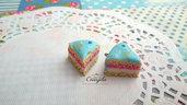 Fetta di torta celeste ciondolo 15 mm. pendente fimo materiale dolci kawaii bigiotteria bijoux