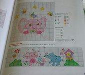 Schema punto croce, bordura lenzuolino, allegri elefantini