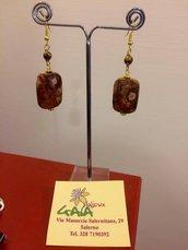 Orecchini con perla sfaccettata in ematite bronzo e rettangolo in diaspro variegato marrone