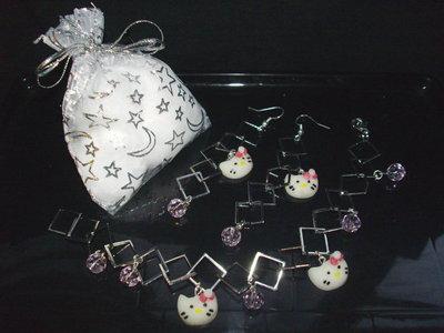 Parure HELLO KITTY : Bracciale + orecchini + confezione, idea regalo San valentino