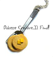Collana Spatola Con Pancake - al burro - miniature - idea regalo - kawaii in fimo e cernit
