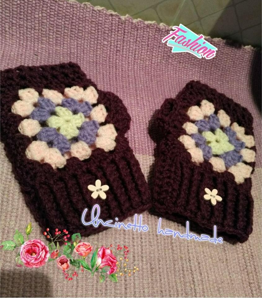 Mezzi guanti lana  uncinetto colorati idea regalo shopping gift