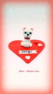 West Higland Terrier su cuore in fimo, decorazione per san valentino, miniature, idee regalo animali, personalizzabile con nome