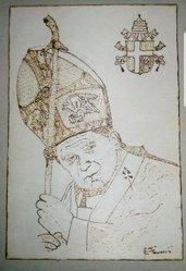 Quadro pirografato a mano San Giovanni Paolo II. Karol Wojtyla