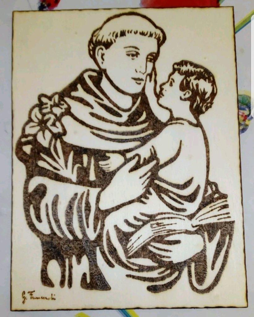 Quadro pirografato a mano Sant'Antonio da Padova
