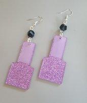 orecchini - smalti rosa glitter