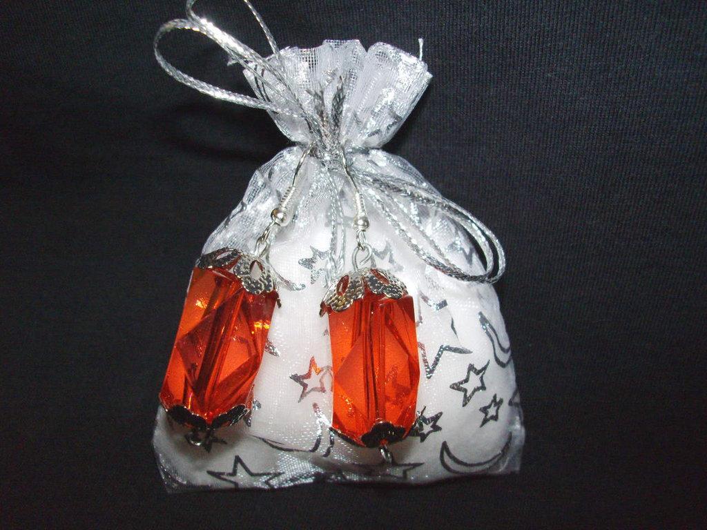 Orecchini rossi + confezione, idea regalo San valentino