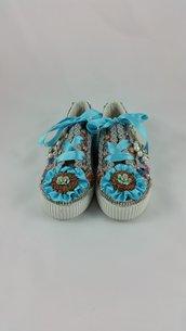 scarpe da ginnastica con lacci - eco pelle - riciclo creativo
