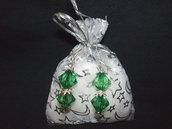 Orecchini verdi + confezione, idea regalo San valentino