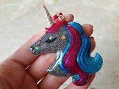 Portachiavi Unicorno in Resina Blu e Fucsia con Glitter. HANDMADE!
