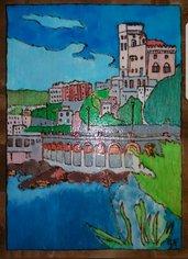 Quadro pirografato e dipinto a mano. Genova
