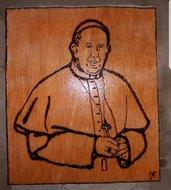 Quadro pirografato a mano. Papa Francesco