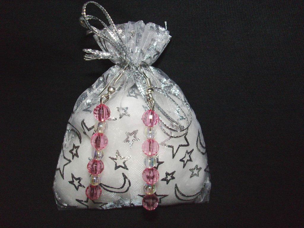Orecchini rosa e bianchi + confezione, idea regalo San valentino