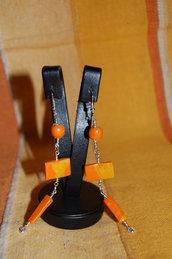 orecchini e bracciale fimo arancione