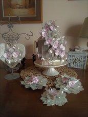 SET 5 PEZZI per decorare CONFETTATA color rosa chiaro