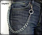 Catena per pantaloni e jeans, in maglia gourmet laminata colore canna di fucile, lunga cm.50, idea regalo - Italyhere
