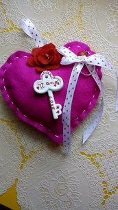 Cuore San Valentino chiave anello amore pannolenci