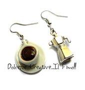 Orecchini tazza di caffè e caffettiera - miniature in fimo, cernit e ceramica - idea regalo