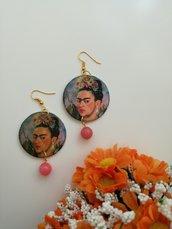 Frida kahlo orecchini di carta pendenti con perla rosa