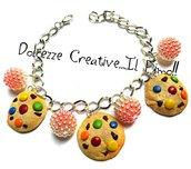 Bracciale Cookie - biscotti con gocce di cioccolato e confetti colorati - handmade - idea regalo kawaii