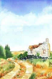 Acquerello raffigurante un paesaggio - Scorcio di campagna