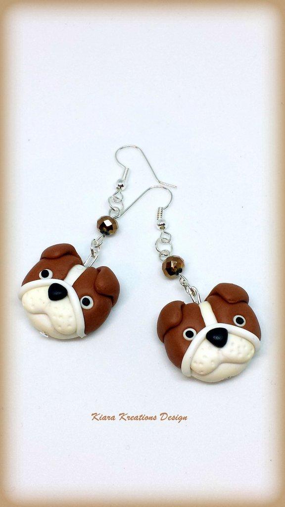 Orecchini Bulldog inglesi in fimo, bijoux bulldog, orecchini cani, bijoux cani, gioielli cani, regalo cane, appassionati di cani