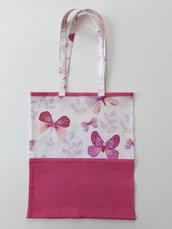 Shopper fantasia farfalle rosa