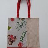 Shopper tessuto fantasia biciclette