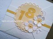 Invito / Compleanno / Anniversario / Oro, panna, bianco