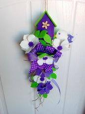 casetta handmade feltro fuoriporta fiori decorazione parete misshobby.com doni e bomboniere pannolenci regalo natale